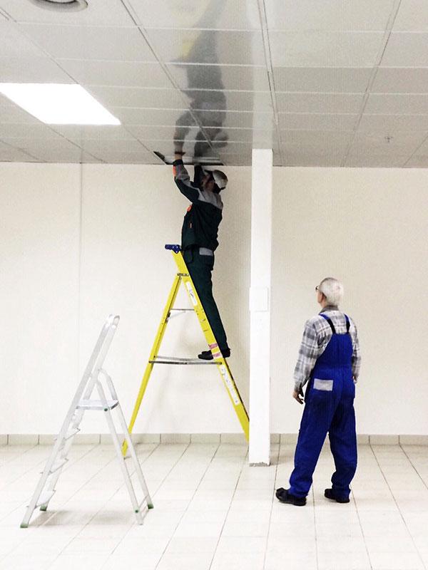 electricians repair lighting in the building